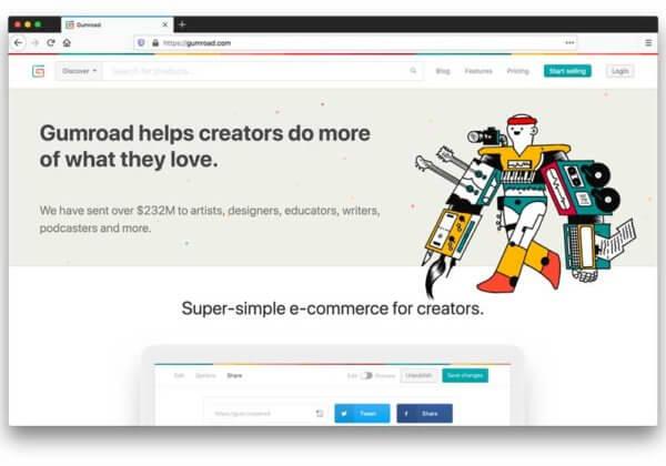 gumroad e-commerce software